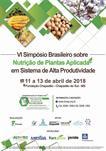 VI SIMPÓSIO BRASILEIRO SOBRE NUTRIÇÃO DE PLANTAS APLICADA EM SISTEMAS DE ALTA PRODUTIVIDADE