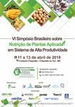 VI SIMPÓSIO BRASILEIRO SOBRE NUTRIÇÃO DE PLANTAS APLICADA EM SISTEMA DE ALTA PRODUTIVIDADE