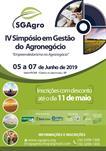 """IV SIMPÓSIO EM GESTÃO DO AGRONEGÓCIO  """"EMPREENDEDORISMO NO AGRONEGÓCIO"""" - SGAGRO 2019"""